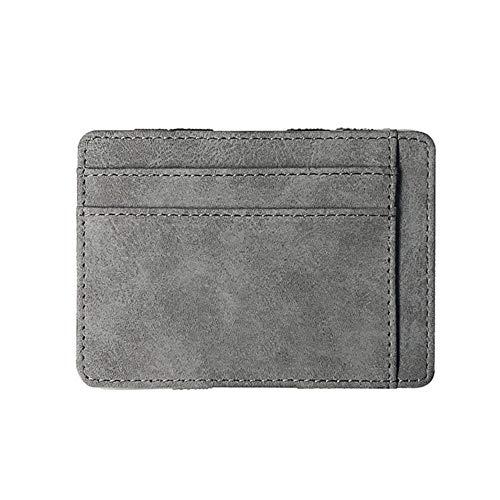Boner Ultra dunne heren portemonnee PU lederen band effen kleur kaarthouder Rits portemonnee Credit Bank Card Case, lichtgrijs