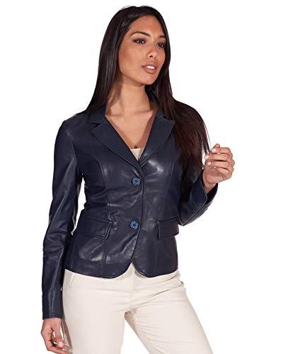 D'Arienzo Blazer in Pelle Donna Blu Made in Italy Giacca 2 Bottoni FZ