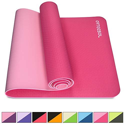 arteesol Yogamatte rutschfest Gymnastikmatte Schadstofffrei TPE Dünn Yoga Matte Fitnessmatte Trainingsmatte Sportmatte für Yoga Pilates Fitness 183cm x 61cm x 6mm (rosa, 183x61x0,6cm)