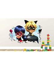 Lieveheersbeestje Miraculous Cat Noir Sticker Muurtattoo Smashed Vinyldecor Muurschildering 55 x 60 cm