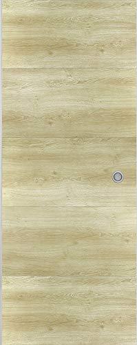 Ondis24 Schiebetür SLIDE, Zimmertür für Wohnung, mit Laufschiene an Wand entlang, Indoor Raumteiler mit Schiene, Schiebetürsystem Kit, Raumtrenner mit Bodenführung (93 cm, Beige)