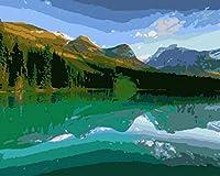 油絵 数字キットによる デジタル インテリア キャンバスの油絵子供 ホーム オフィス装飾 40x50センチ-湖面_額装