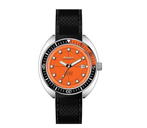 Bulova Devil Diver Oceanographer Reloj de pulsera de goma negra 96B350 para hombre