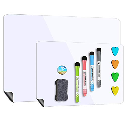Magnetic Whiteboard for Refrigerator 17''x12'' with Extra Smaller Board 12''x10'',Dry Erase Fridge Whiteboard,4 Magnetic Markers,1 Eraser and 4 Hearts Included