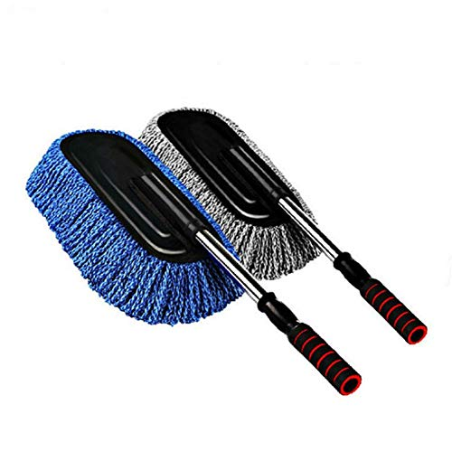 Car Duster Microfiber Mop Brush Cleaning Super Multi Functional Stainless Removable Telescoping Automotive Handle Wax Interior Soft for Home Motorcycle Bike Gray and Blue Two Packs