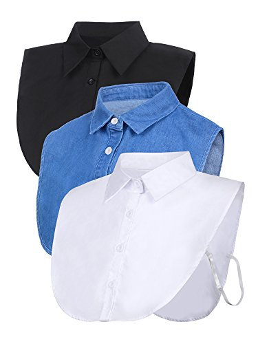 SATINIOR 3 Pieces Fake Collar Detachable Dickey Collar Blouse Half Shirts Collar (White/Black/Blue) (M Size, White/Black/Blue)