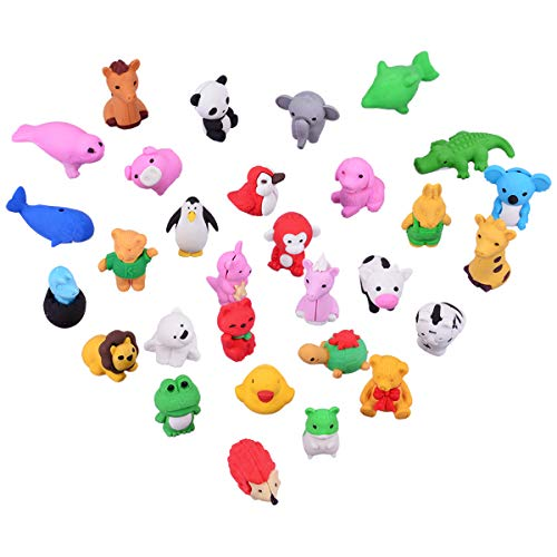 OZUAR 30 Pcs Gomas de Borrar Divertidas Diseño de Animales de Formas,Mini Animal-Shaped Colorful Erasers Puzzle Juguetes...
