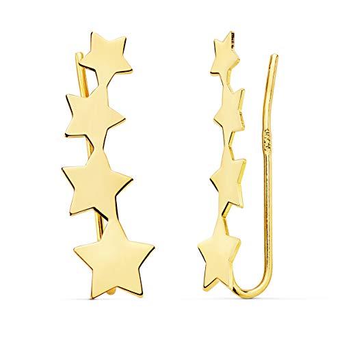 Pendientes Trepadores de Mujer Oro 18 Kilates Estrellas