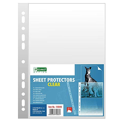 D.RECT - Buste Perforate Trasparenti | A4, 50micron, 100pezzi | Busta forata | finitura liscia