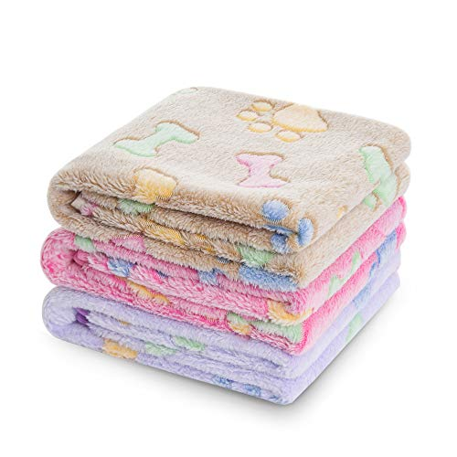 Luciphia Blankets Super Soft Fluffy Premium Fleece Pet Blanket Flannel Throw for Dog Puppy Cat (Medium, Bone) Bed Blankets
