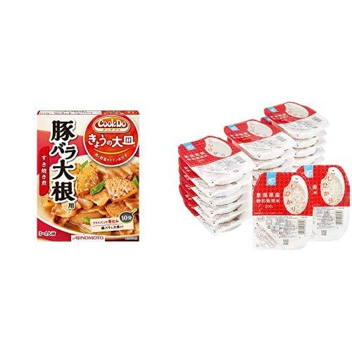 味の素 Cook Do きょうの大皿 豚バラ大根用 100g×4個 + Happy Belly パックご飯 新潟県産こしひかり 200g×20個(白米) 特別栽培米