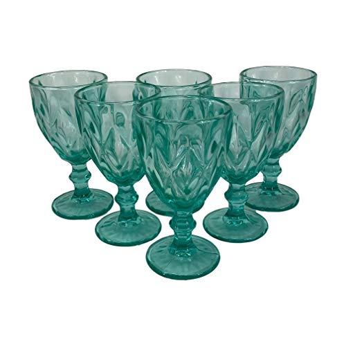 Homevibes Set De 6 Copas De Vino Azul con Relieve, Capacidad 330ml, Medidads 9 * 17cm, Copa De Vino, Cristaleria De Calidad (Celeste)