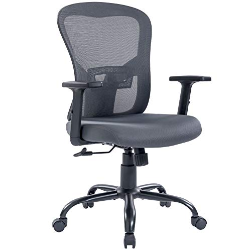 Home Office Chair Ergonomic Desk Chair with Adjustable Arms and Lumbar Support, Dark Gray Mesh Swivel Executive Computer Chair for Working & Resting