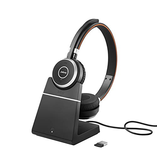 Jabra Evolve 65 Wireless Stereo On-Ear Headset - Microsoft Teams zertifizierte Kopfhörer mit langer Akkulaufzeit und Ladestation - USB Bluetooth Adapter - schwarz