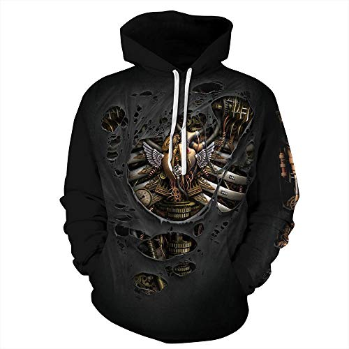 Hoodie Robot Machinery Black 3D Print Hooded Sweatshirt Unisex Funny Long Sleeve Pullover Hoodies Soft Casual Tops Hoody with Drawstring Pockets, Lightweight Stretchy Polyester and Spandex XXL