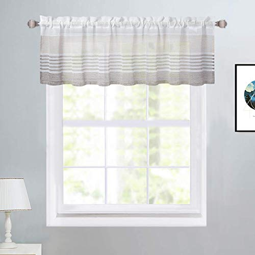 """Haperlare Valance Curtains for Kitchen, Striped Linen Textured Valance Curtains for Windows Rod Pocket Farmhouse Splicing Yarn Dyed Boucle Design Kitchen Cafe Curtains, 54"""" W x 15"""" L, Taupe/Brown"""