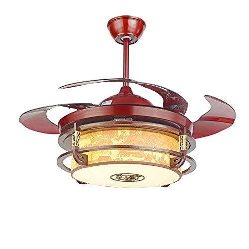HEMFV Luz del Ventilador de Techo Ventilador de la lámpara Chino Sala Comedor 42 Pulgadas Arte de Madera de Piel de Oveja de acrílico Faro Cuerpo del Ventilador de la lámpara