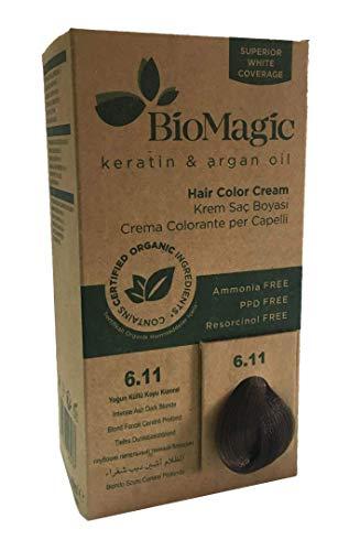 BioMagic Permanente Haarfarbe, Keratin & Arganöl-Linie, Ammoniakfreies Haarfärbemittel, Enthält zertifizierte Bio-Zutaten, Haarfärbung für einen natürlichen Look (6.11 Intensives Aschedunkelblond)
