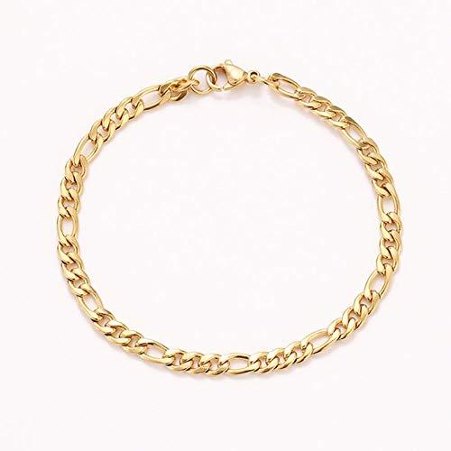 WERTY ステンレス製のチェーンブレスレット色の男性の女性のゴールドジュエリーペンダントシルバープレートDONOTキャスト,金色,8インチ20センチメートル