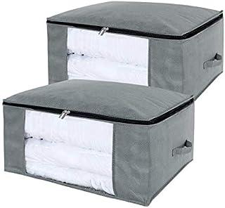مجموعة من قطعتين مكونة من حقيبة تخزين للملابس ذات سعة كبيرة 100 لتر مع نافذة شفافة للملاءات، والبطانيات، وأغطية السرير، وا...