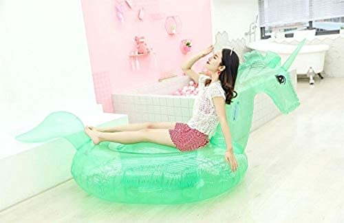 HuXWeiß240cm Shiny Unicorn Pool Float Sequin Inflatable Swimming Party Float Crystal Shiny Swim Ring Adult Pool Tube Float,Grün