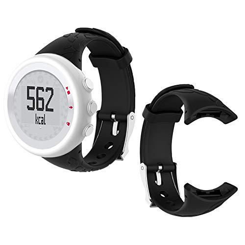 Zerone siliconen horlogebandje lichte silicone perforaties zacht elastiek vrouwen Lady Smartwatch armband voor Suunto M1 M2 M4 M5 (zwart)