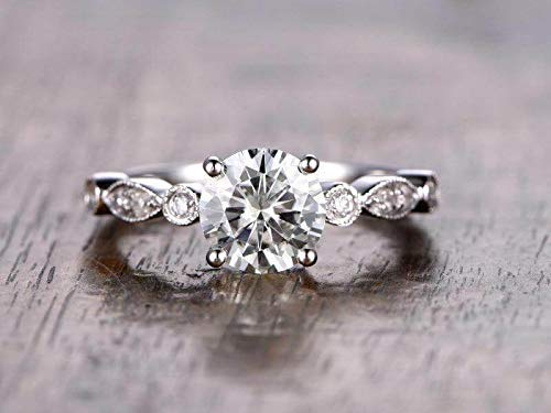 Courier shipping free shipping Artdeco 1.25 Carat Moissanite and Ring Diamond Engagement with 1 Ranking TOP12