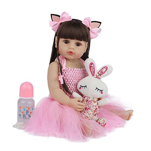55CM Vollsilikon Vinyl Babypuppe Lebensechte wiedergeborene Mädchen Puppen mit rosa Kleid für Alter 3+