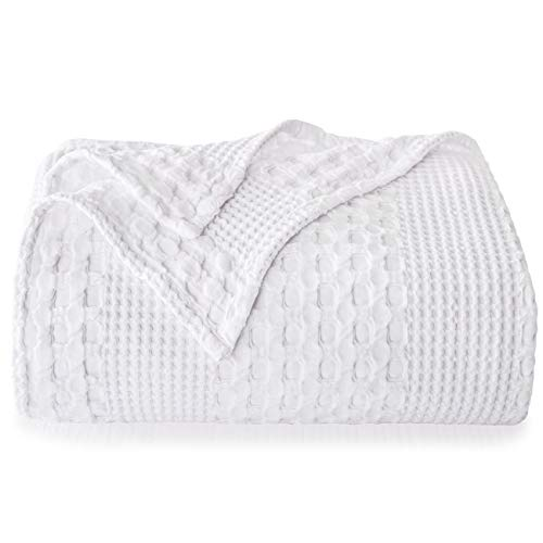 PHF 100% Cotton Waffle Weave Blanket Queen Size 90'x90' for...