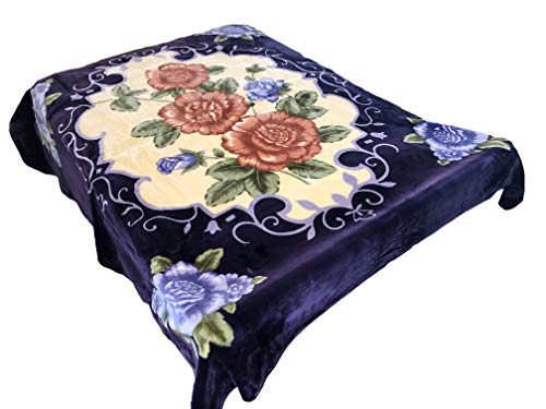 SOLARON 4ESTACIONES Mink Plush Korean Style Durable Blanket from Company (Purple Flowers, Queen)