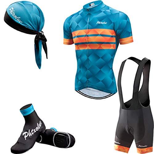 Sommer Fahrradanzug Herren Fahrradbekleidung Fahrradbekleidung Kurzarm Fahrradbekleidung Anzug-4 in 1_XXL