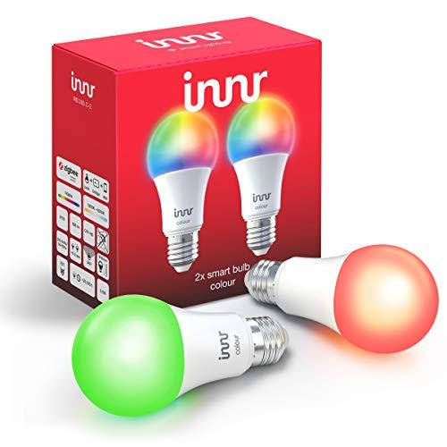 Innr E27 Smart LED Lampe, Color, kompatibel mit Philips Hue* und Alexa (Bridge erforderlich) dimmbar, RGBW, 2-Pack, RB 285C-2