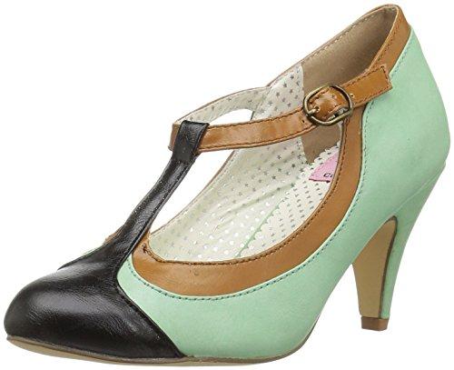 Peach-03 de la aleta de la bomba con el talón corto y T-correa de la menta verde / marrón / negro - 20s Vintage Rockabilly - (UE 37 = US 7) - Pin Up Couture