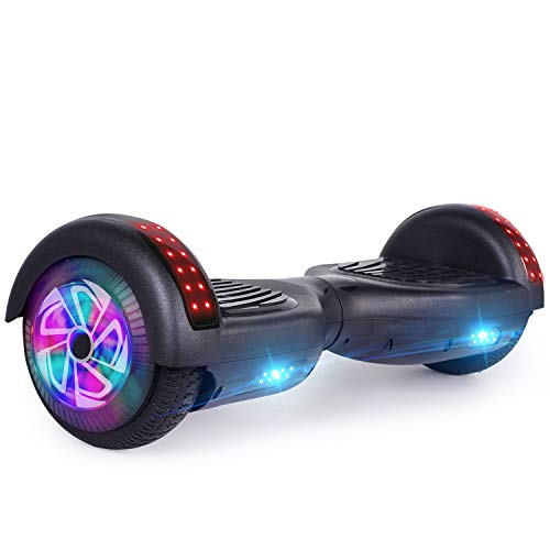 LIEAGLE Hoverboard, 6.5' Self Balancing Scooter Hover Board with Bluetooth, UL2272 Certified Wheels LED Lights for Adult Kids (Black(Bluetooth))