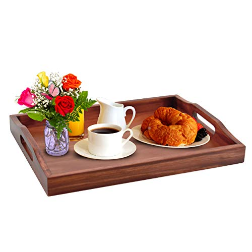 Gift This Ottoman Tray for Living Room – Wooden Tray for Ottoman Coffee Table - 16 x 12 x 2-inch Breakfast and Tea Coffee Table Serving Tray Wood – Wooden Trays for Decor – Home Tray Décor Acce...