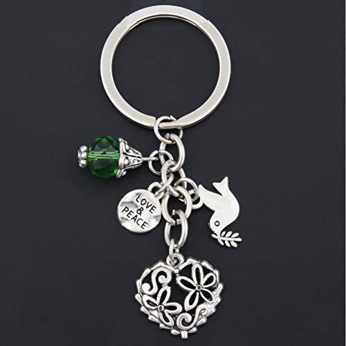 XHYKL 1 st Vrede Duif Hangers Met Groene Kraal DIY Mannen Sieraden Auto Sleutelhanger Ring Houder Souvenir