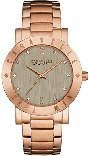 Caravelle New York 44l203Mujer Pulsera Inoxidable Gris Dial Oro Rosa Reloj