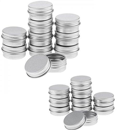 Homyl 20 Pcs 15 ml et 5 ml Pot Boîtier Boîte Vide en Aluminium pour Epice Baume Pommade de Maquillage Poudre Fard à Joues Rouge à Lèvres