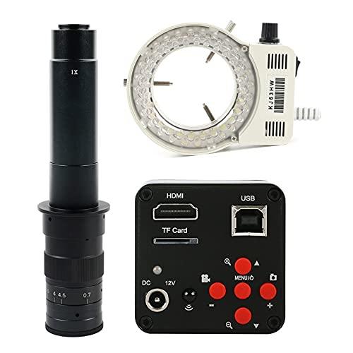 Tivivose FHD 38MP 1080P USB HDMI Industrial Digital Microscopio de Video Cámara de Microscopio C-Mount TF Tarjeta de Almacenamiento Grabador de Video (Color : White)