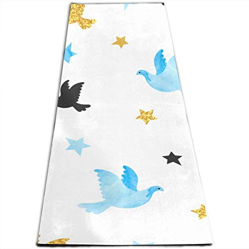 YYRR Estera de yoga Workout Mat Puzzle Blue Golden Dove Pattern Personalized Printing Thick Non-Slip Anti-Tear High Density Lightweight with Carrying Strap Storage Pockets Fitness Mat Thick