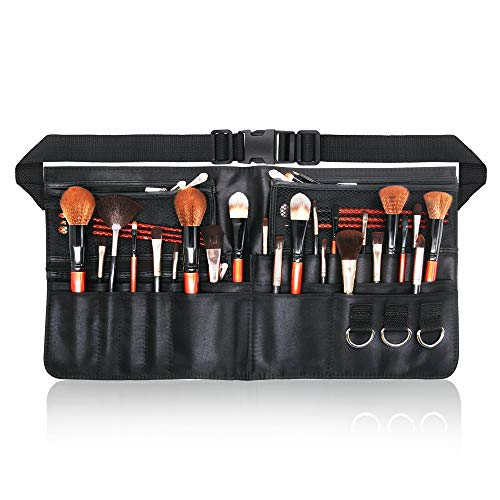 MaxGeek Professionelle Make-up-Pinsel-Tasche, tragbar, mit Gürtelschlaufe, Schwarz