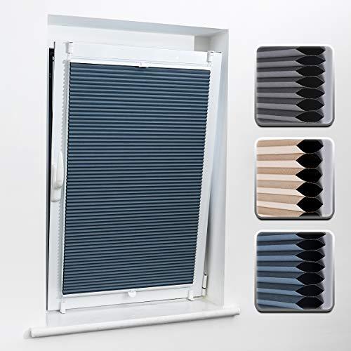 Buseu Wabenplissee Thermo Zweifarbig Plisseerollo für Fenster Sonnen-,Schall- & Hitzeschutz 100x 130cm(BXH) Blau-Weiß