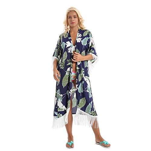 YueLian Damen Stranponcho Sommer Bluse mit Quaste Strankleid Badeanzug Bikini Cover Up