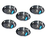 neelam Stainless Steel Lazer Halwa Plate - Set of 6, Silver