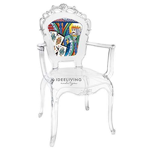 Sessel aus Polycarbonat mit Armlehnen, Kollektion Baroque & Rock Sicily, von Baci Milano – König der Herzen