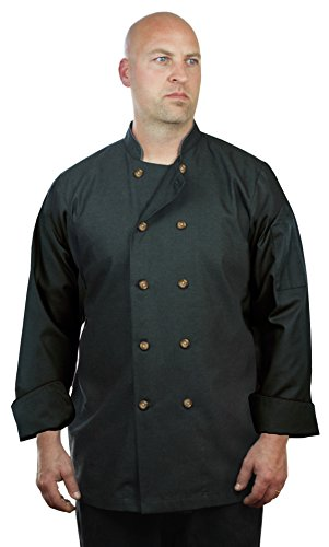 ASD Living High End Black Denim Long Sleeve, XX-Large Chef Coat