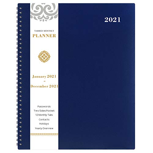 2021 Monthly Planner - 12-Month Planner with Tabs & Pocket & Label, Contacts and Passwords, 9' x 11', Thick Paper, Jan. - Dec. 2021, Twin-Wire Binding - Navy Blue by Artfan