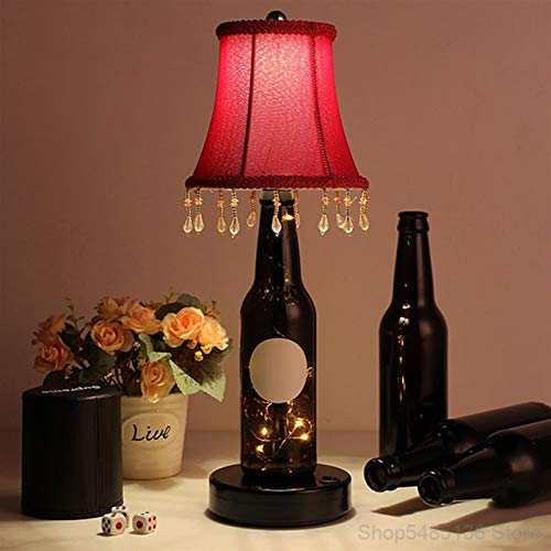 Floor lamp Glass Bottle Bar Table Lamp Restaurant Bedroom Bedside led Charging Desk Lamps Home lighting Fixtures Loft Decor Industrial Lamp (Lampshade Color : B)
