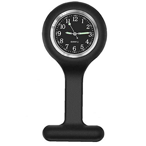 Reloj de la Enfermera de la Broche de Silicona Fob Control de Infecciones Diseño Cuidado de la Salud para Enfermera paramédico Broche Médico Reloj de Bolsillo Hoom Suministros Negro