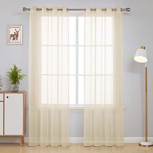 Deconovo Visillos Blancos Cortina Translucida Salón Infantiles para Ventanas Dormitorio para Habitacion con Ojales Piezas 140x245cm Beige